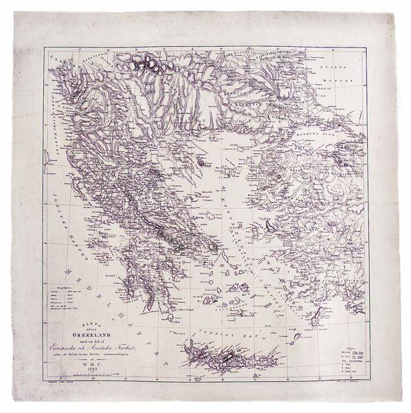 Karta Europa Turkiet.Kringla Gravyr Karta Karta Ofver Grekland Med En Del Af