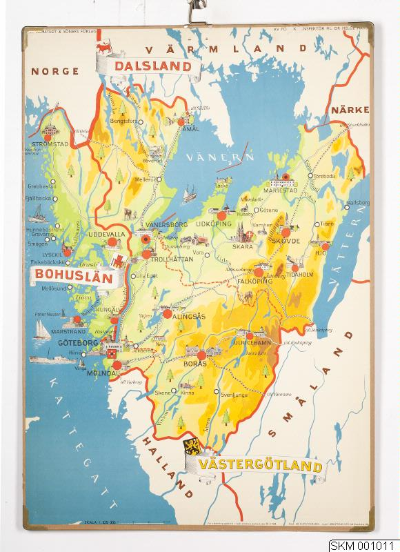västergötland karta karta, plansch, skolplansch, Svenska landskap: Bohuslän, Dalsland  västergötland karta